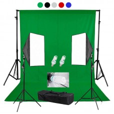 backdrop Stand 2x2m & muslin backdrops 3x2m & Continuous SoftBox Lighting Kit Jo-4