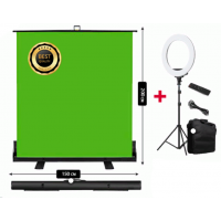 Chroma Key-Roll-Up 150x200cm and Ring Light with Remote and Bag Jo-13