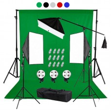backdrop Stand 3x3m & muslin backdrops 6x3m & Continuous SoftBox Lighting Kit Jo-5