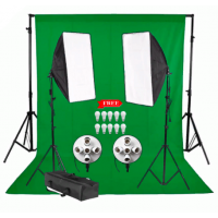 Background Stand 3x2m and Muslin Backdrop 3x2m and Softbox Lighting Five Socket Kit JO-12