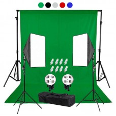 backdrop Stand 2x2m & muslin backdrops 3x2m & Continuous SoftBox Lighting Kit Jo-3